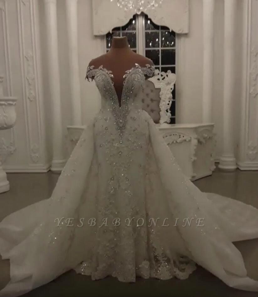 Luxury Sheer Jewel Cap Sleeve Applique Beading Mermaid Wedding Dresses With Detachable Skirt
