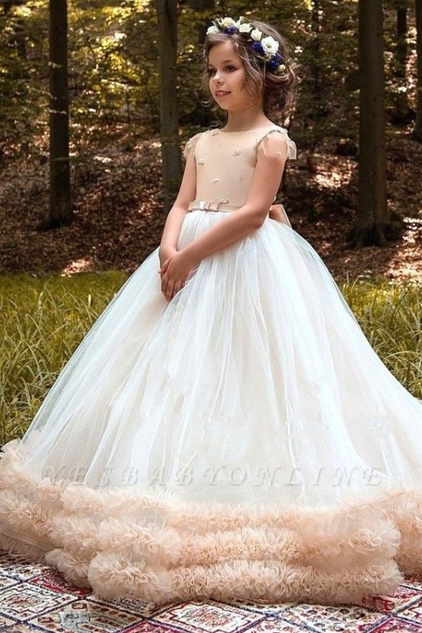 Lovely Ball Gown Short Sleeves Tulle Glower Girl Dresses With Bows