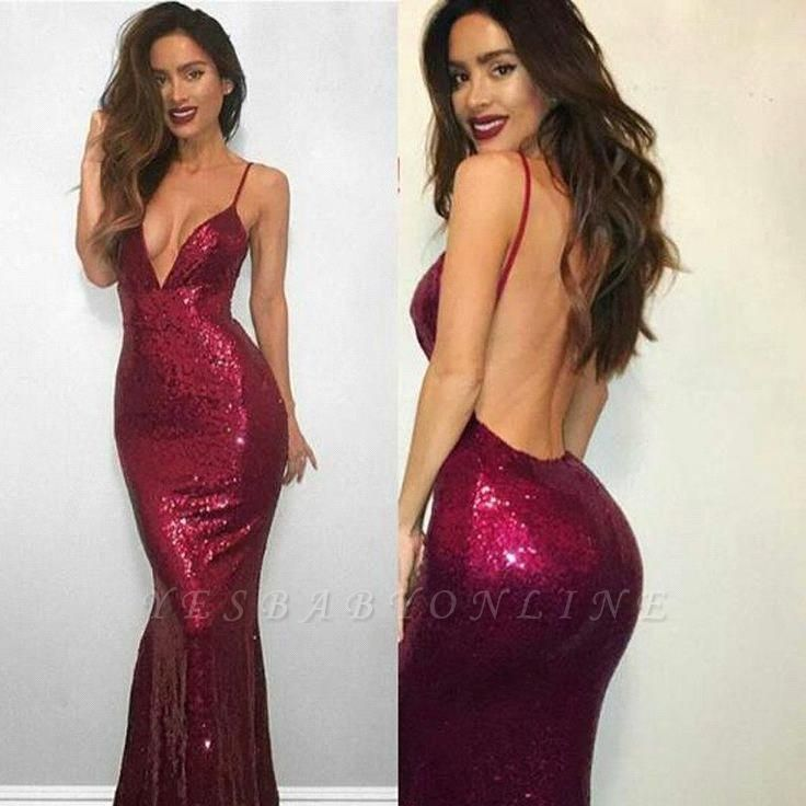Mermaid Red Sexy V-neck Spaghetti-Strap Sequined Sleeveless Backless Prom Dress