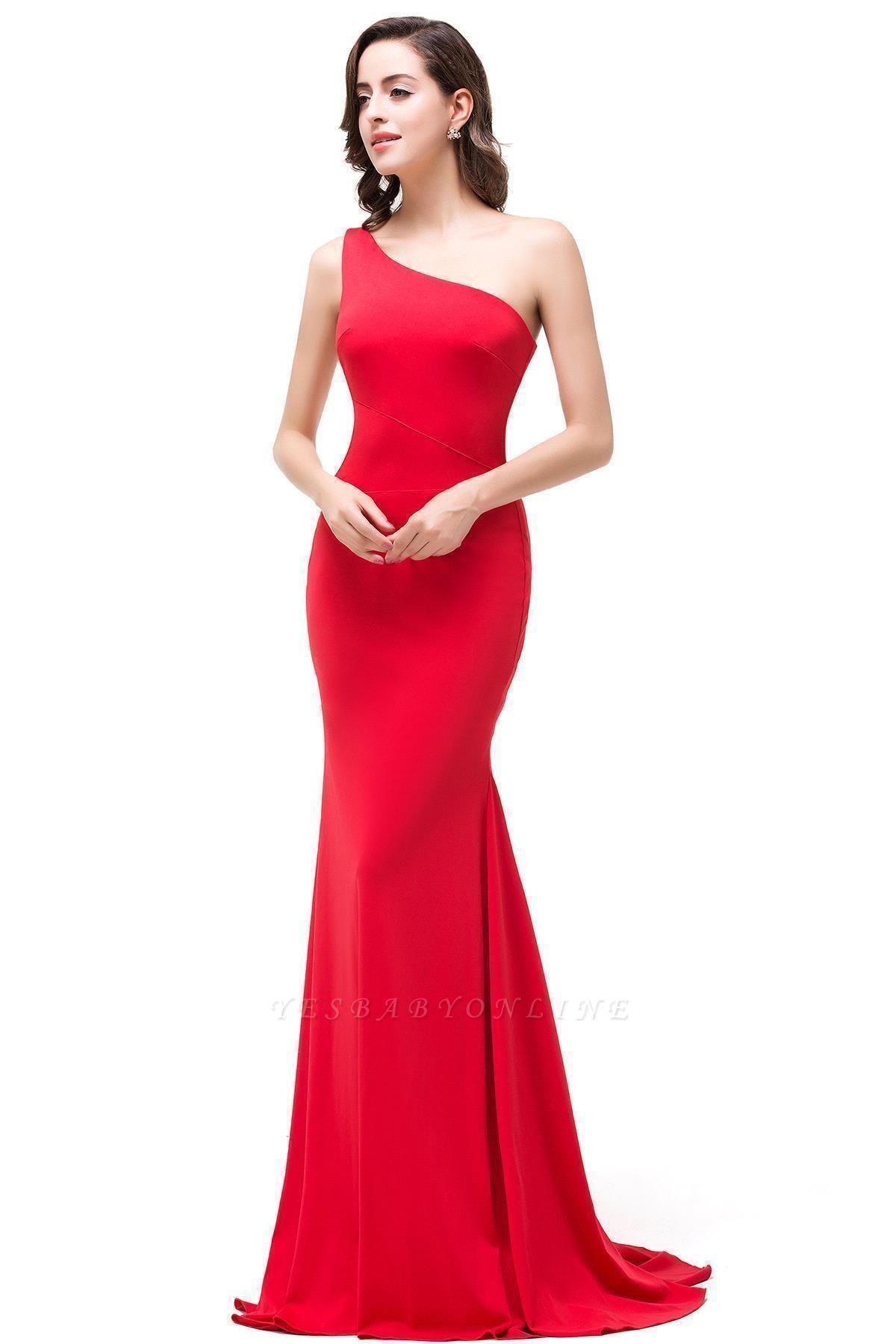Red One-Shoulder Floor Length Mermaid Prom Dress