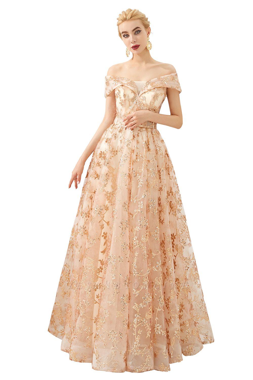 Gorgeous Off the Shoulder A-line Floor Length Lace Prom Dresses | Long Evening Dresses Cheap