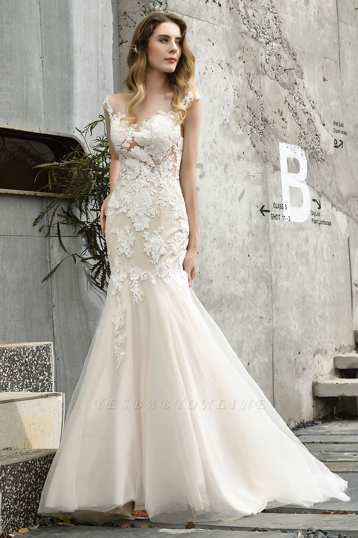 Gorgeous Floor Length  Lace Tulle Wedding Dresses Mermaid