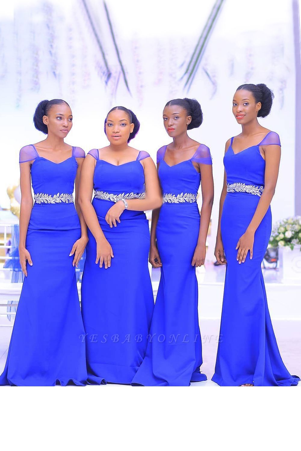 Beaded Cap Sleeves Belted Floor Length Bridesmaid Dresses | Fitted Wedding Guest Dresses