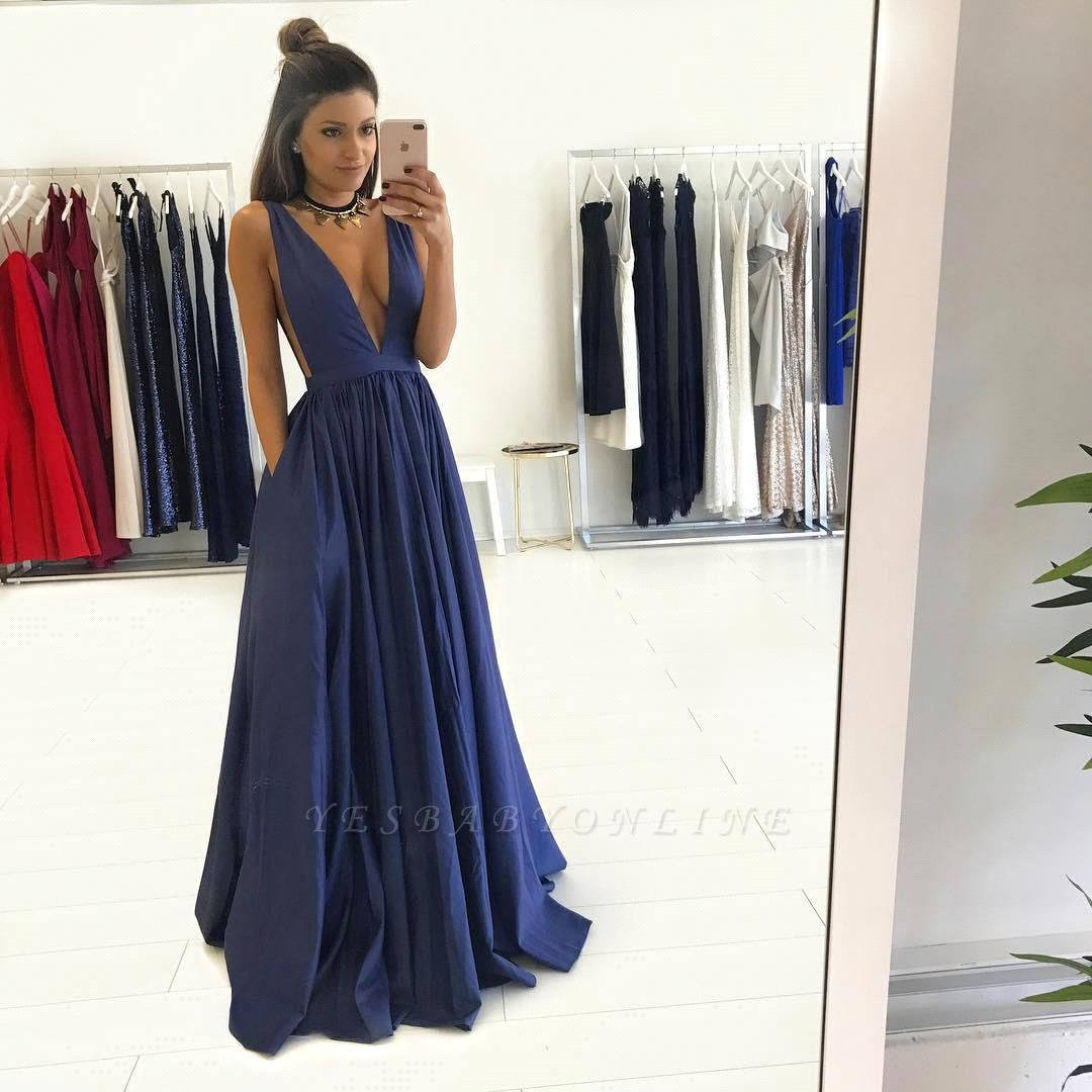 2019 Dark Navy Prom Dresses Deep V-Neck with Pockets A-line Evening Gowns