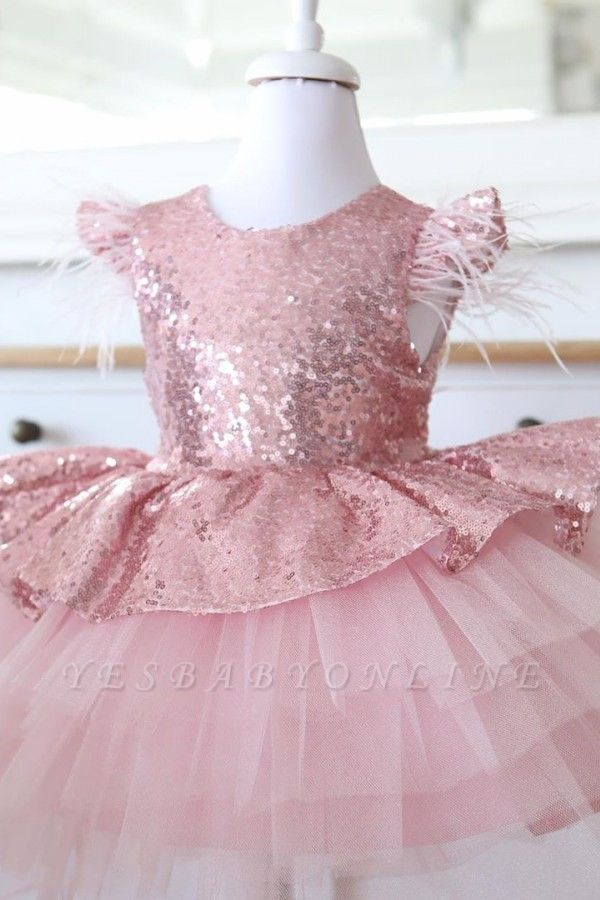 Lovely Hi-Lo Jewel Cap Sleeves Sequins Flower Girl Dresses with Bowknot