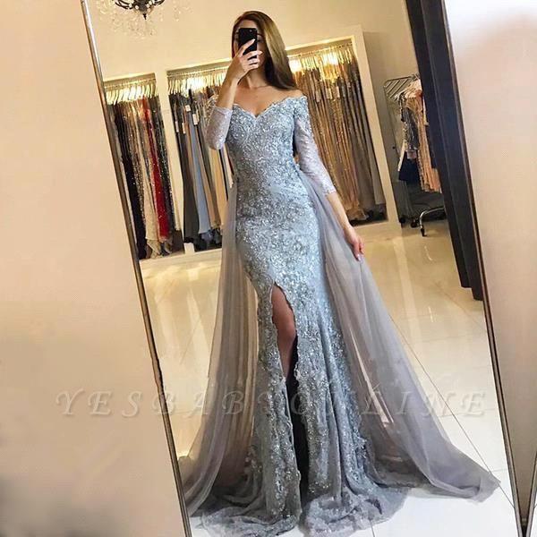 Lace-Appliques Long-Sleeve Newest Mermaid Sweetheart Front-Split Prom Dress