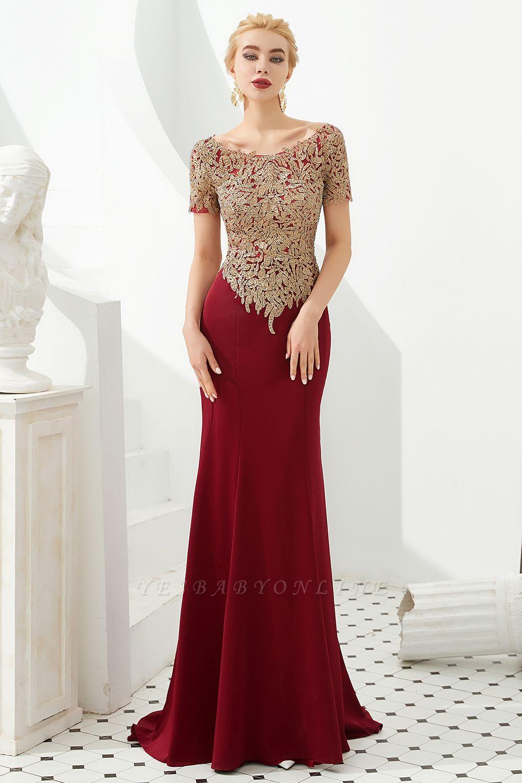 Bateau Short Sleeves Applique Fitted Long Prom Dresses | Burgundy Evening Dresses