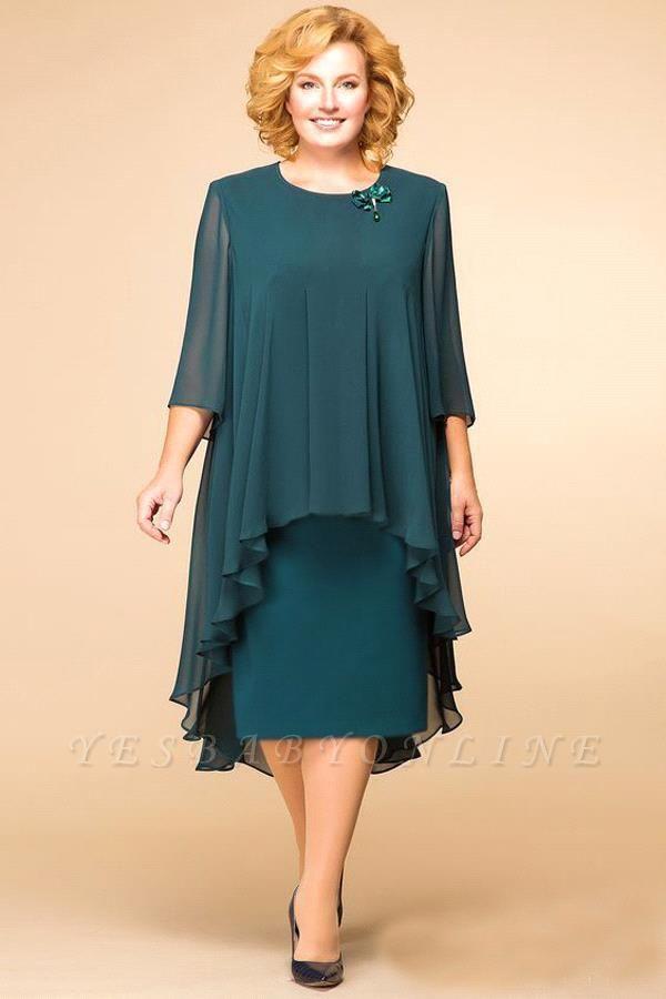 Elegant Chiffon Jewel 3/4 Sleeves Tea Length Mother of Bride Dress
