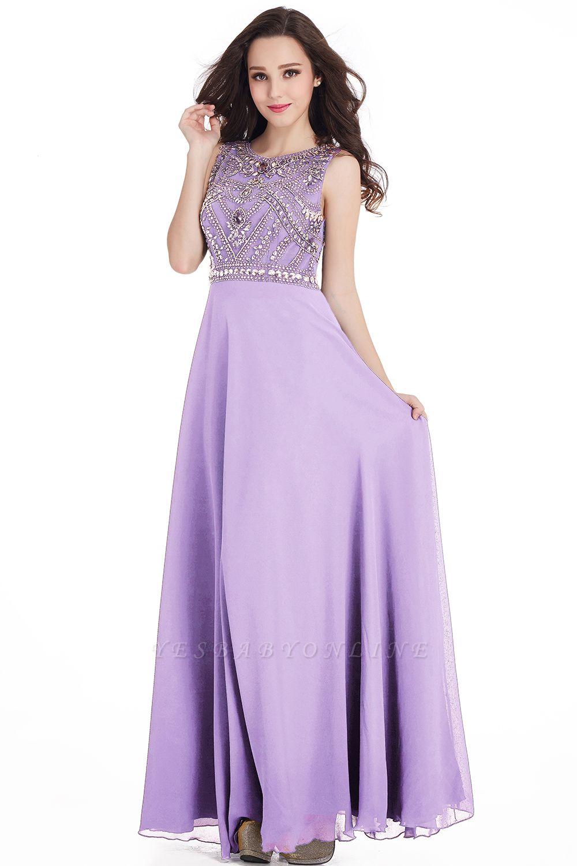 Sheath Jewel Crystals Floor Length Long Chiffon Cheap Prom Dresses