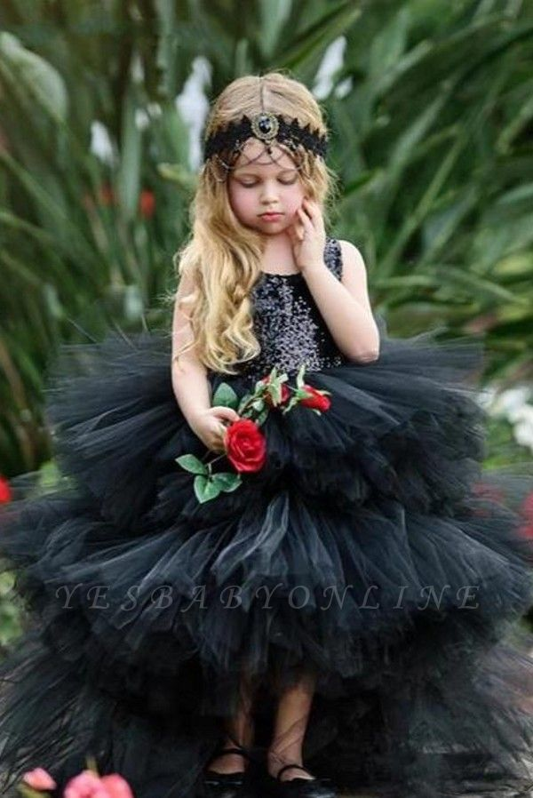 Jewel Sleeveless Hi-Lo Open Back Sequins Tulle Ball Gown Flower Girl Dresses