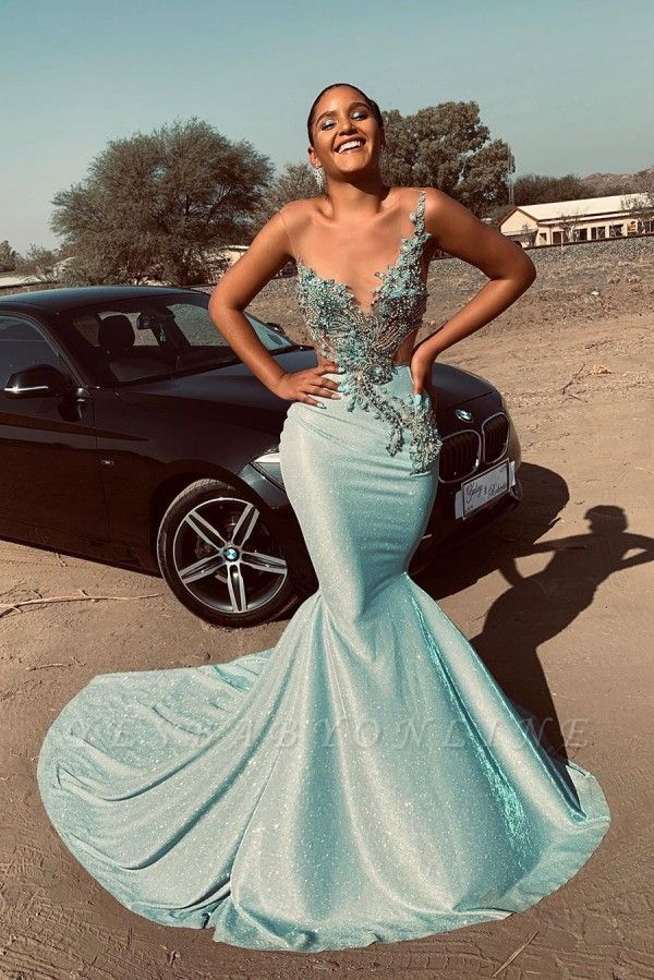 Jewel Sleeveless Sheer Appliques Sexy Mermaid Prom Dresses | African Style Prom Dresses