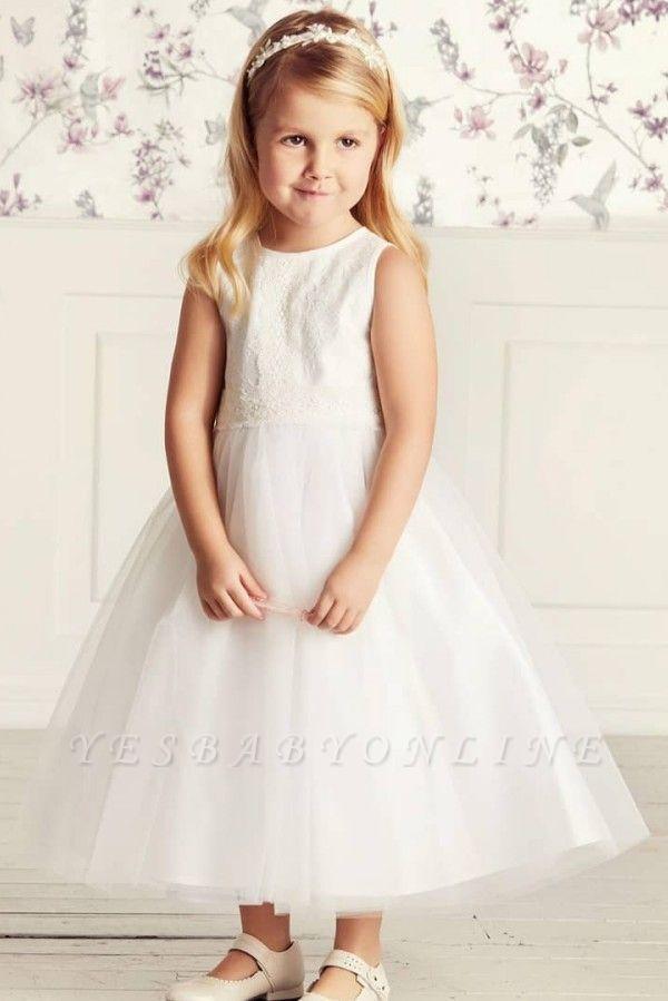 Jewel Sleeveless Ribbon Belt Lace Tulle Long Flower Girl Dresses
