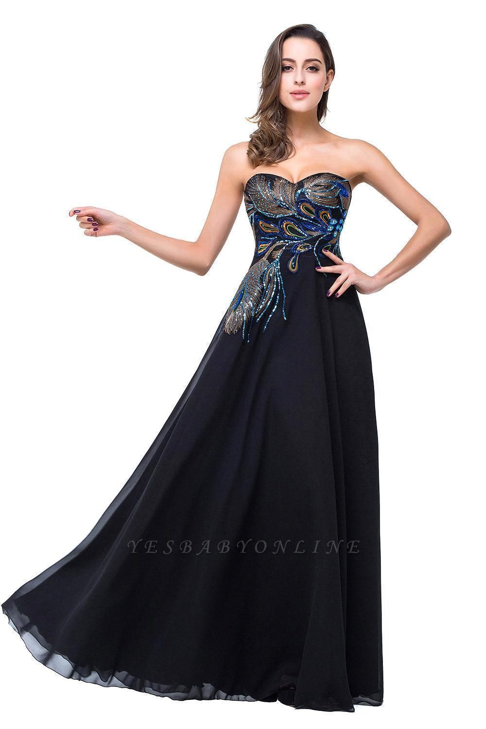 A-line Sweetheart Black Cheap Evening Dress with Embroidery