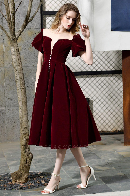 Burgundy Flare Sleeve Deep V Neck Tea Length A Line Prom Dresses | Ruffles Evening Dresses