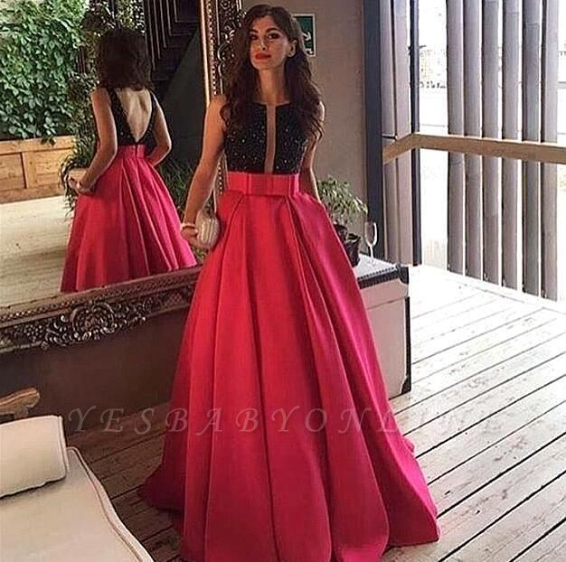 Sleeveless Neckline Black-red Scoop Prom Dress