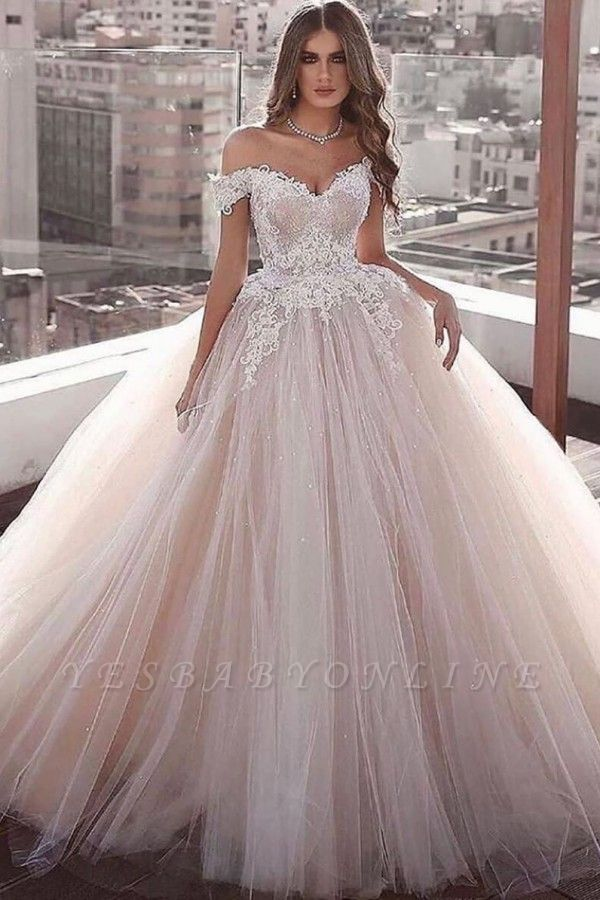 Glamorous Off the Shoulder Floor Length Ball Gown Lace Tulle Wedding Dresses