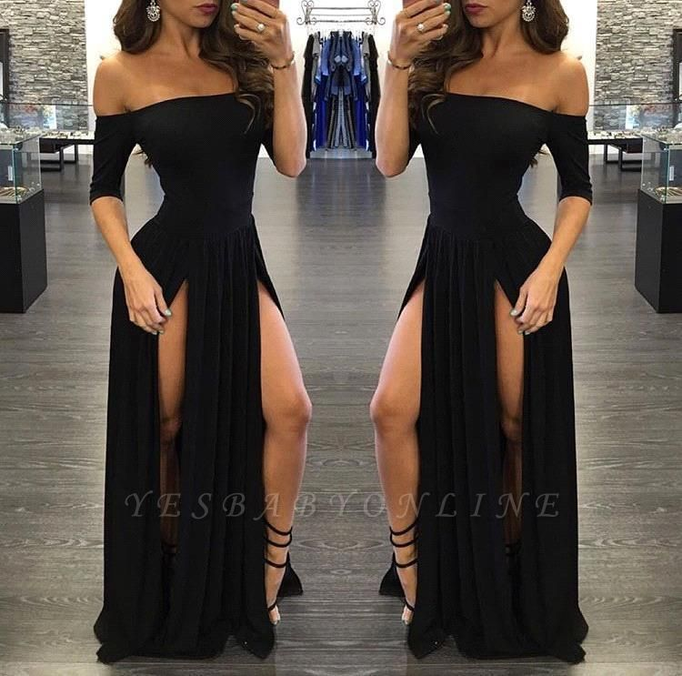 Off-the-shoulder Half-Sleeve  Sexy Black Split Prom Dress