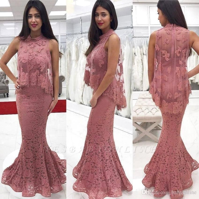 Floor-Length Lace Cute-Pink High-neck Mermaid Prom Dress