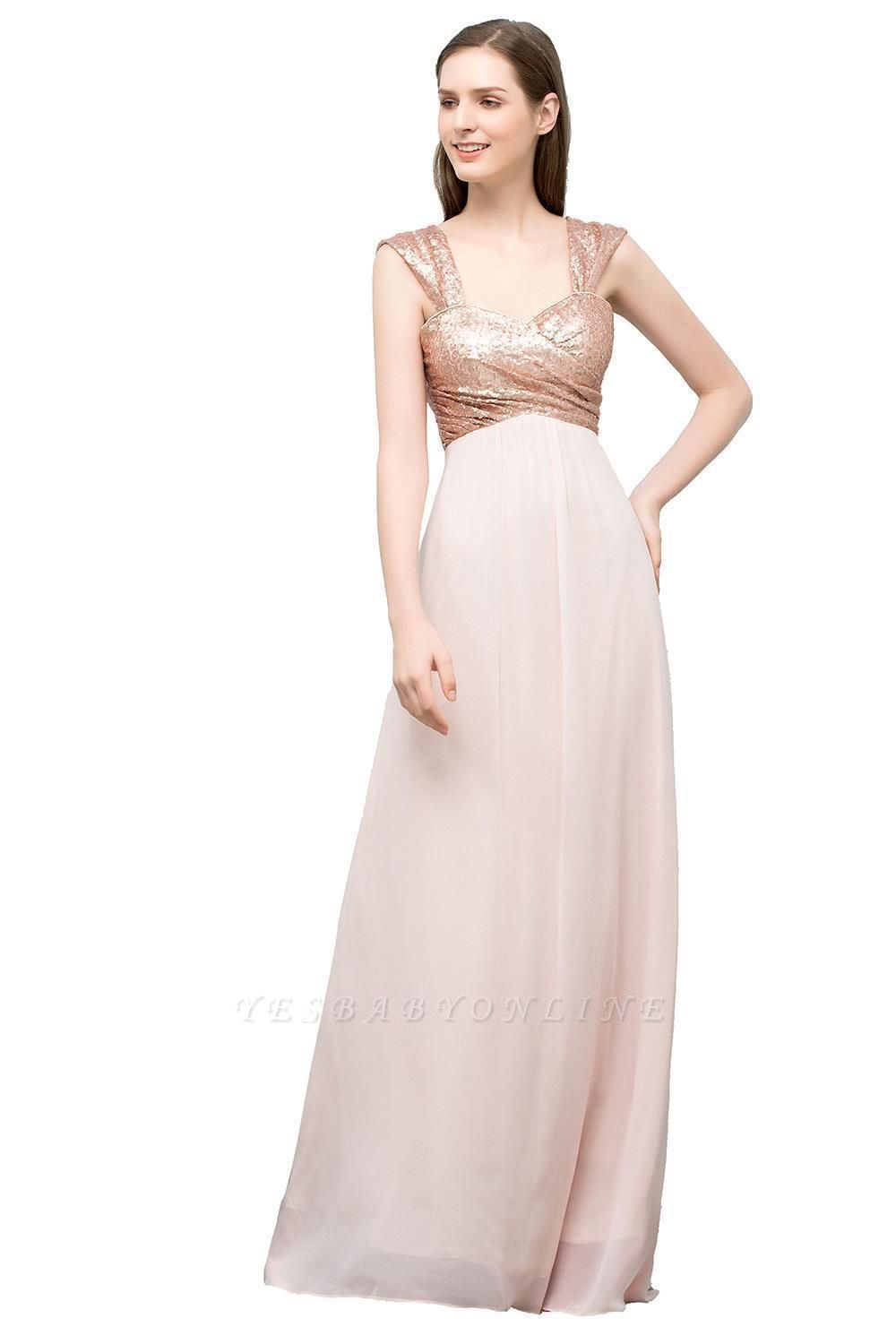 Cheap A-line Sweetheart Off-shoulder Spaghetti Long Sequins Chiffon Prom Dress in Stock