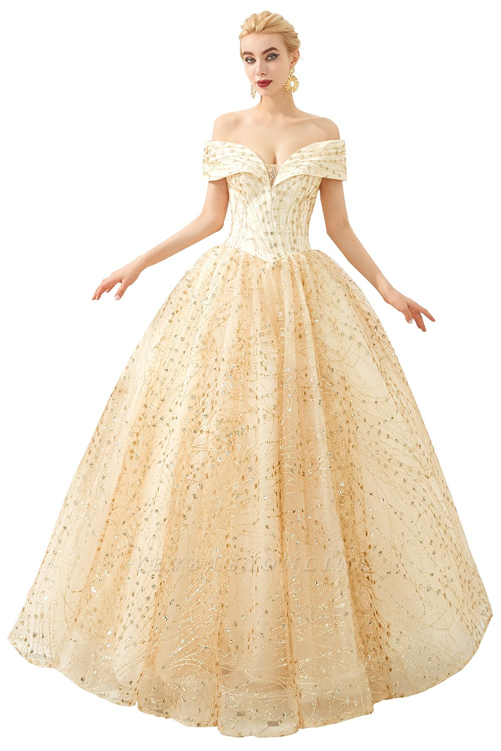 Off the Shoulder A-line Long Lace Beaded Prom Dresses    Floor Length Evening Dresses