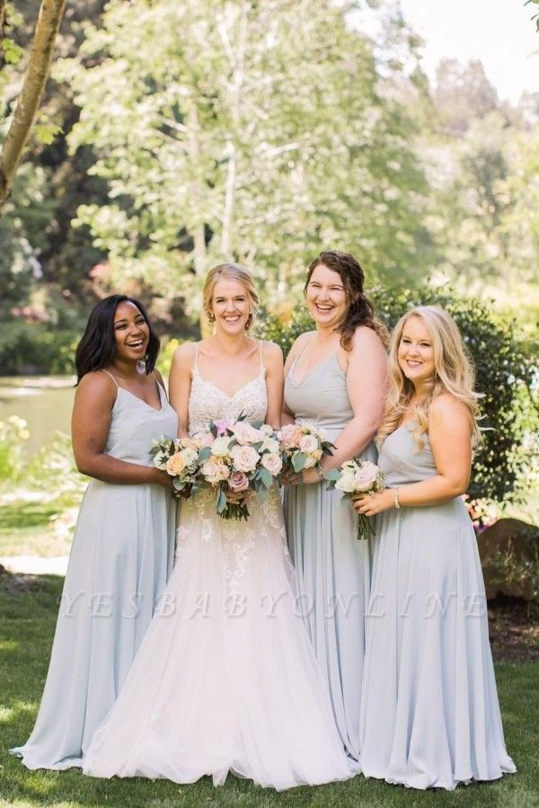 Plain Dusty Blue Spaghetti Straps V-neck Chiffon Long Bridesmaid Dresses