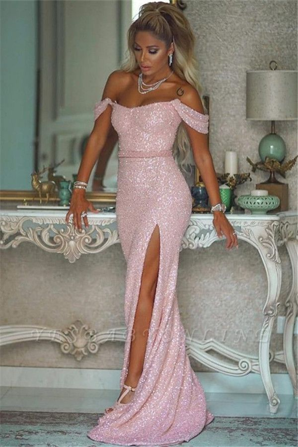 Stunning Off The Shoulder Sequined Pink Prom Dresses | Sexy Evening Dresses Long
