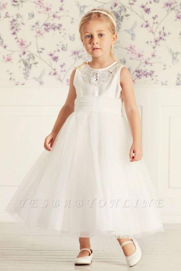 Simple Jewel Sleeveless Beaded Tulle Flower Girl Dresses | Wedding Dress for Girls