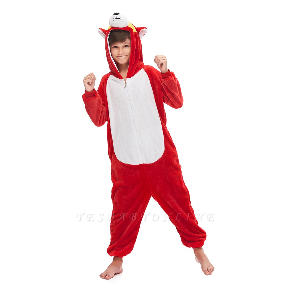 Cute Animal Sleepwear Bear Onesie, Red