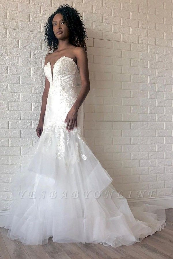 Floor Length Strapless Sweetheart Organza Appliques Gorgeous Mermaid Wedding Dresses