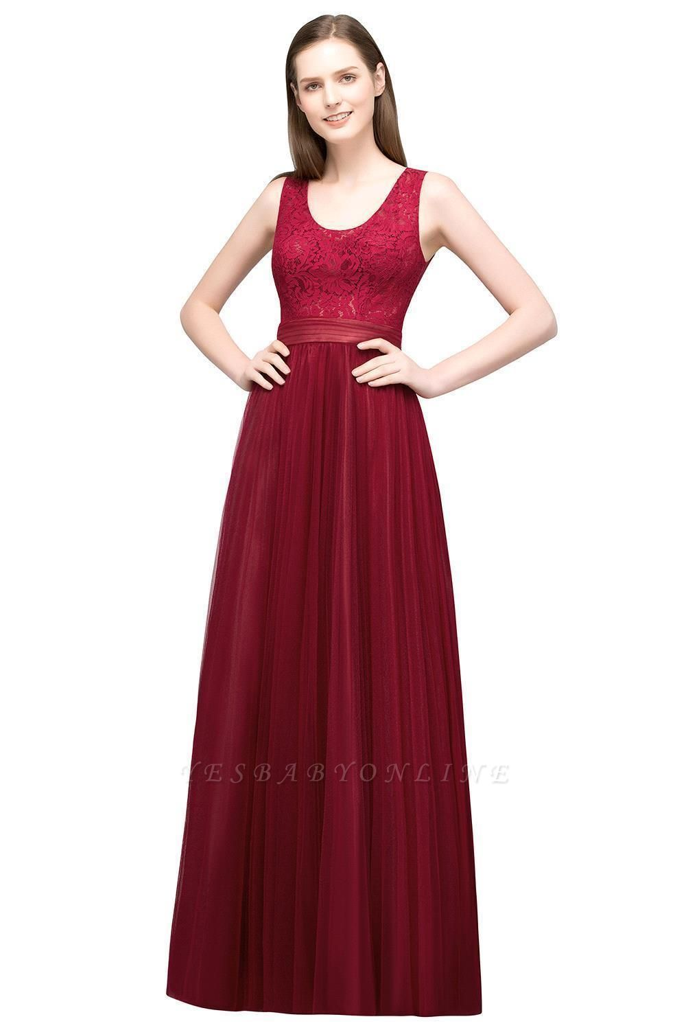 A-line Scoop Long Sleevless Lace Top Burgundy Tulle Prom Dress In Stock