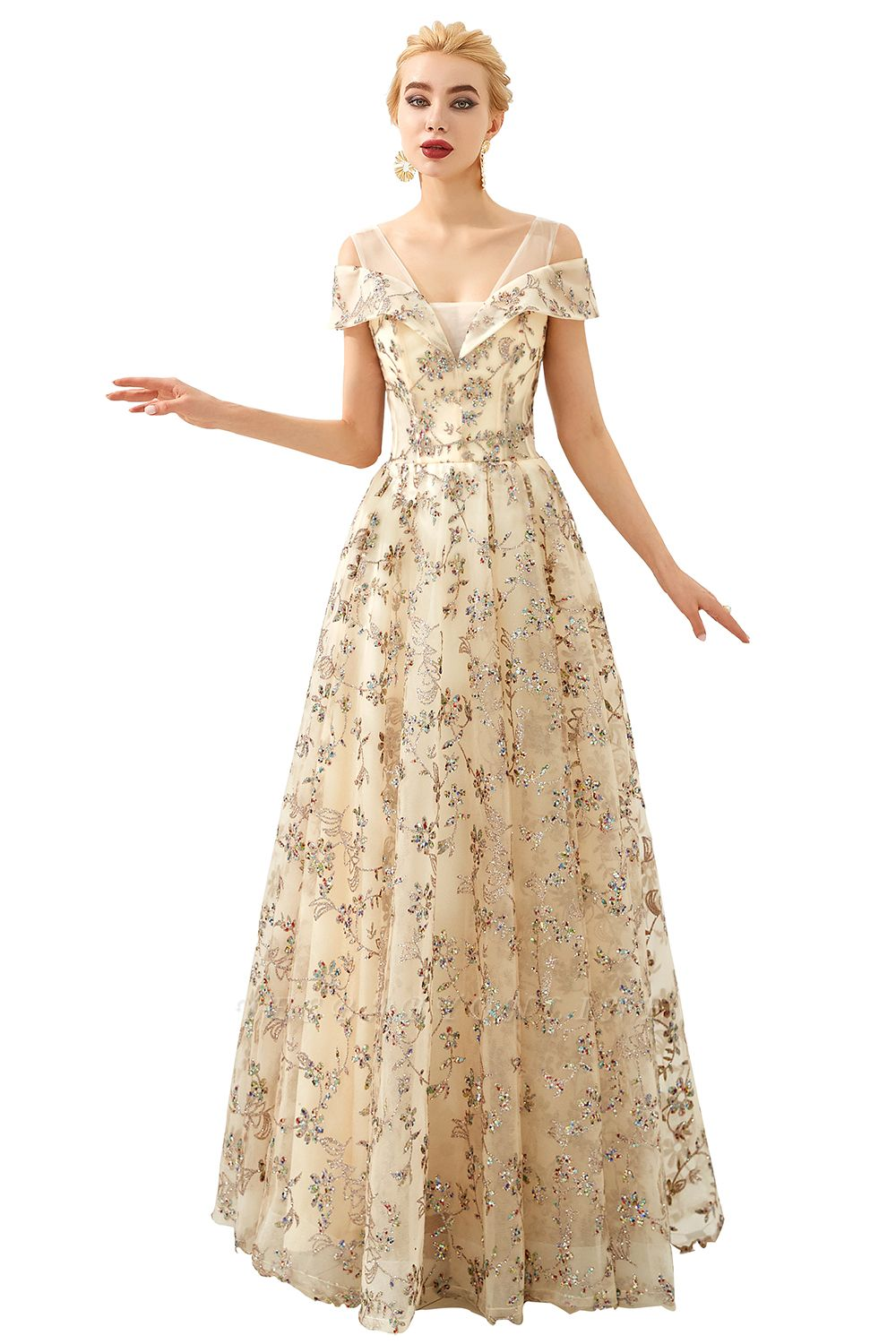 Glamorous Cold-Sleeves A-line Long Lace Prom Dresses    Floor Length Evening Dresses