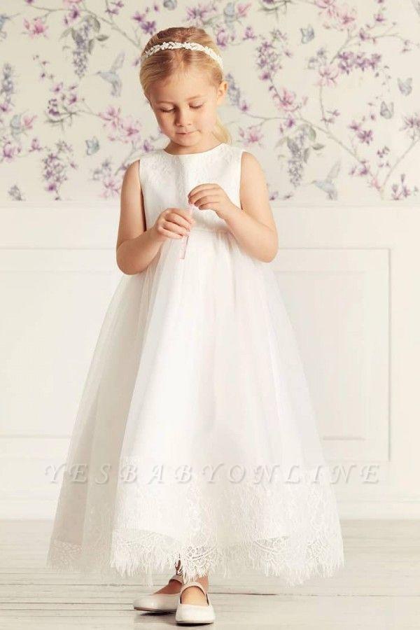 Jewel Sleeveless Lace Tulle Long Flower Girl Dresses   Dress for Flower Girls