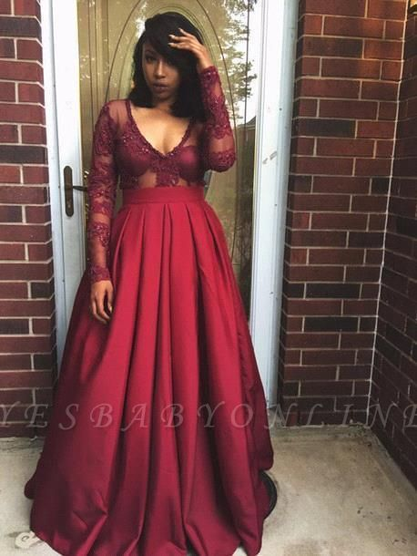 V-Neck Long-Sleeves Appliques Sexy Prom Dresses