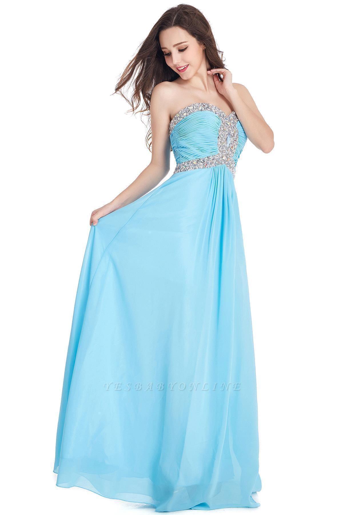 CRYSTAL | Sheath Floor-Length Sweetheart Chiffon Prom Dresses with Crystals
