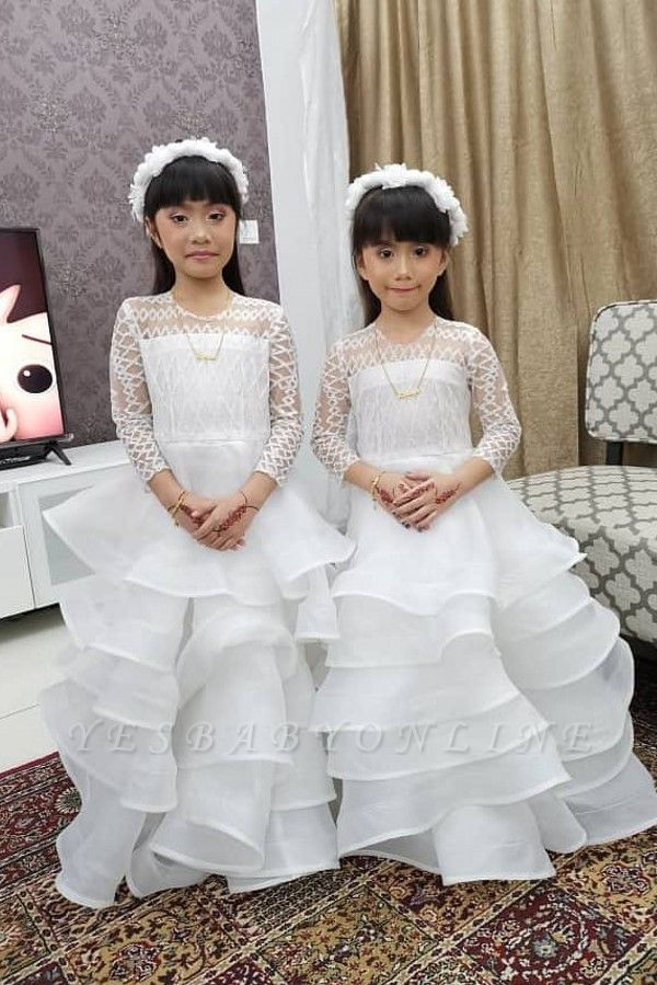 Jewel Long Sleeves Lace Tulle Long Flower Girl Dresses
