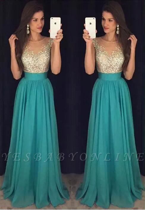 Scoop Floor-Length Elegant Long Crystal Chiffon Prom Dress