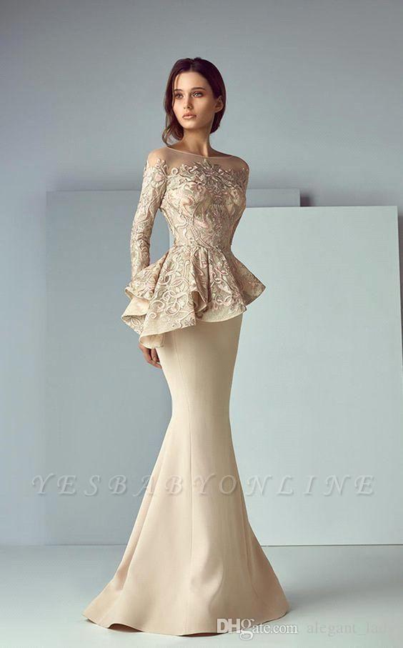 Elegant Jewel Floor Length Long Sleeves Peplum Champagne Prom Dresses