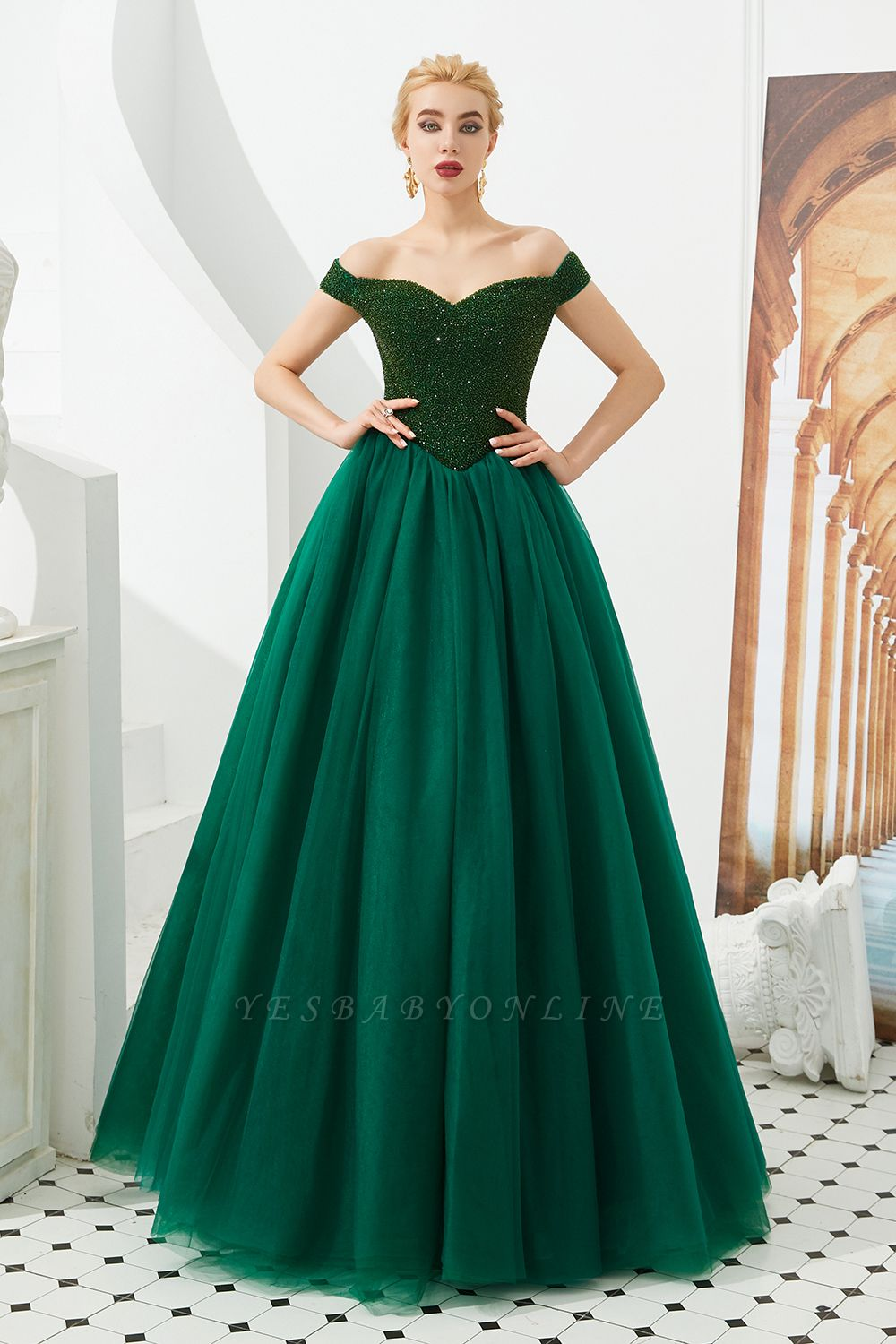 Off the Shoulder Sweetheart Jade A-line Long Prom Dresses | Elegant Evening Dresses Cheap