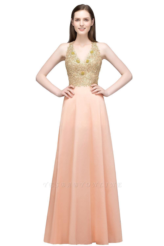 RENA | A-line Floor Length Spaghetti V-neck Appliqued Chiffon Bridesmaid Dresses