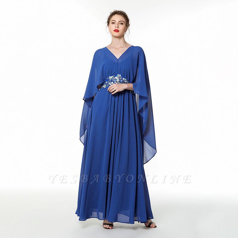 Long Chiffon Beaded Belted Prom Dresses | Floor Length Evening Dresses Online