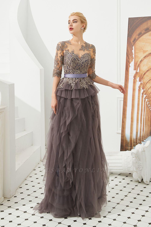 Elegant Jewel Half Sleeves Ribbon Belt A-line Lace Tulle Prom Dresses