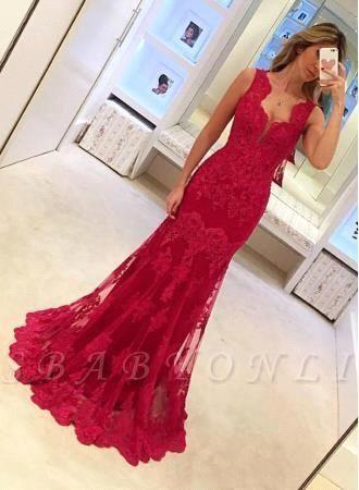Lace Red Sexy Mermaid Long Sleeveless Elegant Evening Dresses