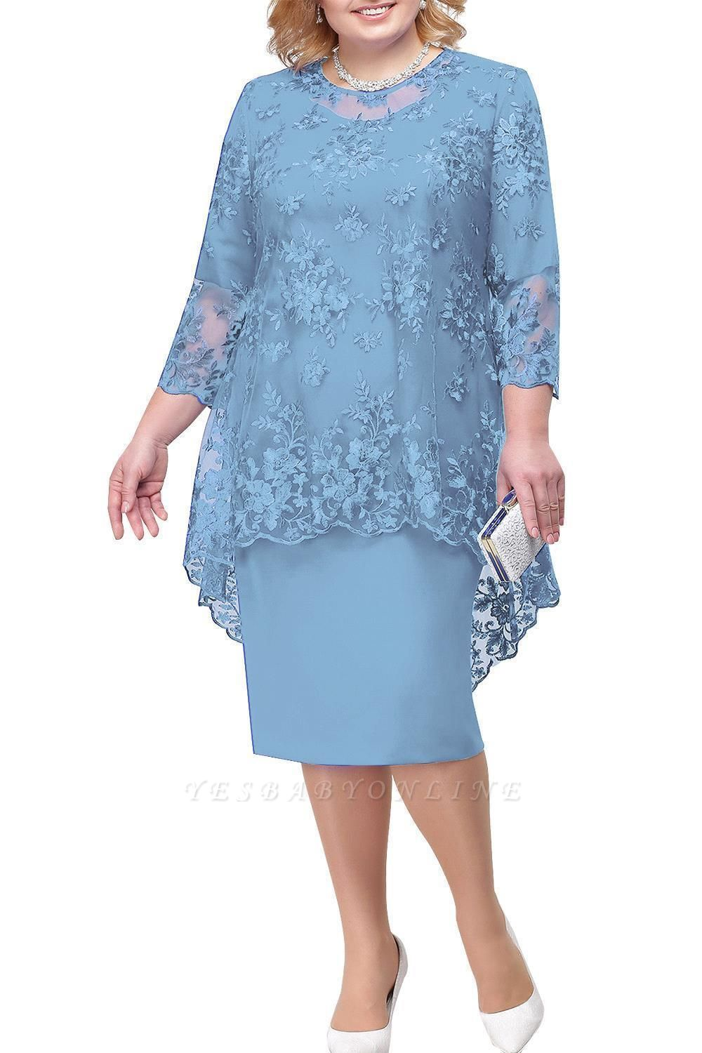 Tulle Lace 3/4 Sleeves Knee Length Mother of Bride Dress
