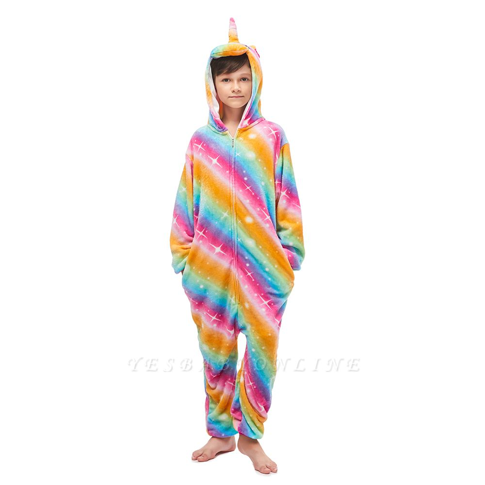 Lovely Pajamas Sleepwear for Kids Unicorn Onesies, Rainbow