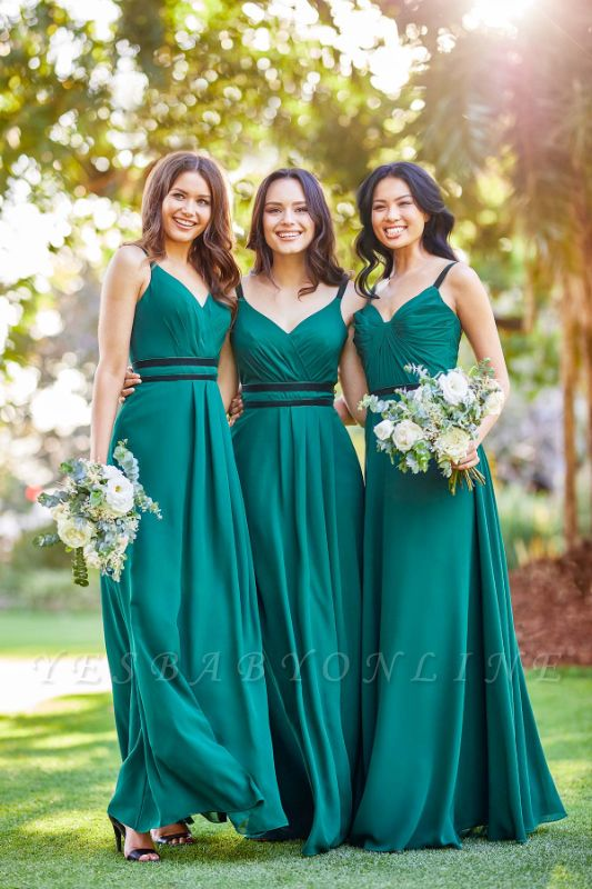 Simple Straps V-neck Belted Long Bridesmaid Dresses | Cheap Maid of Honor Dresses