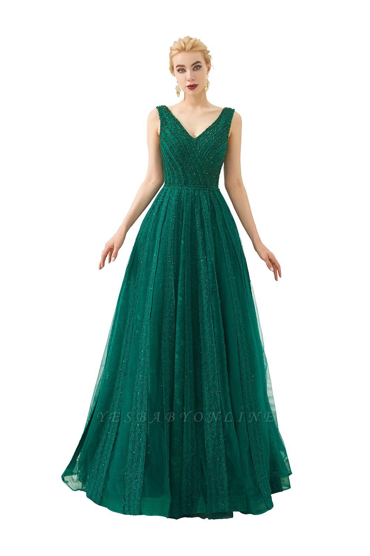 Gorgeous Straps V-neck A-line Long Prom Dresses | Jade Floor Length Evening Dresses