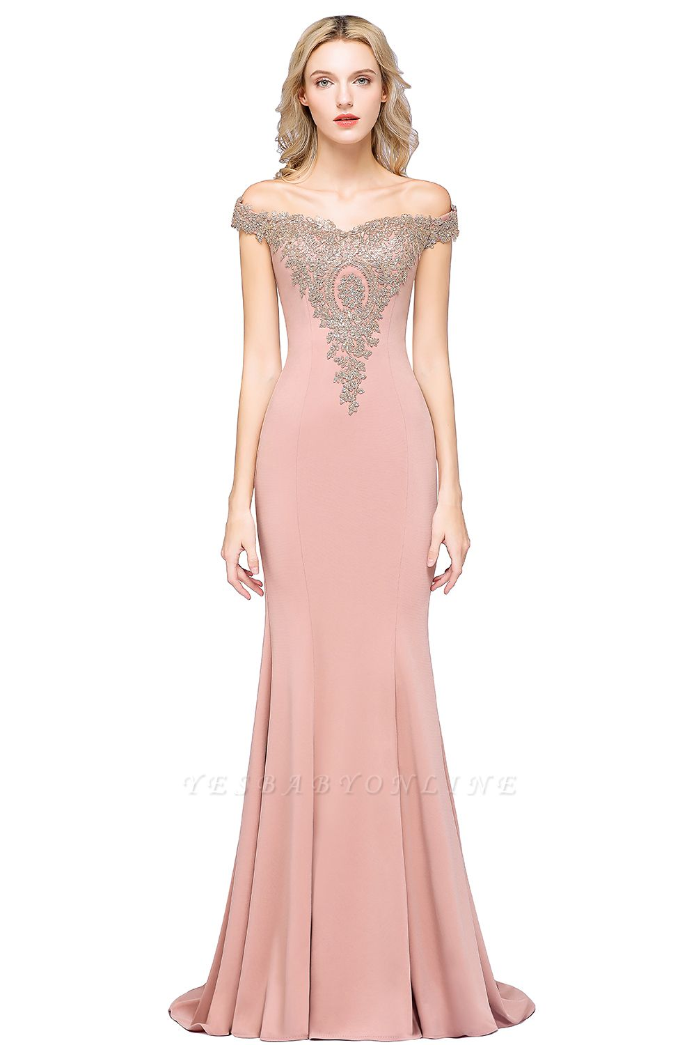 Simple Off the Shoulder Appliques Fitted Floor Length Evening Gown