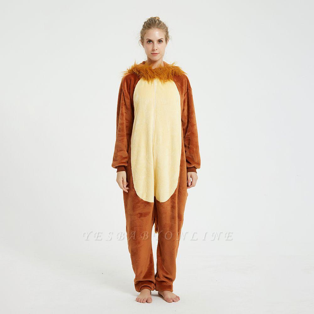 Cute Animal Pyjamas for Women Lion Onesies, Brown