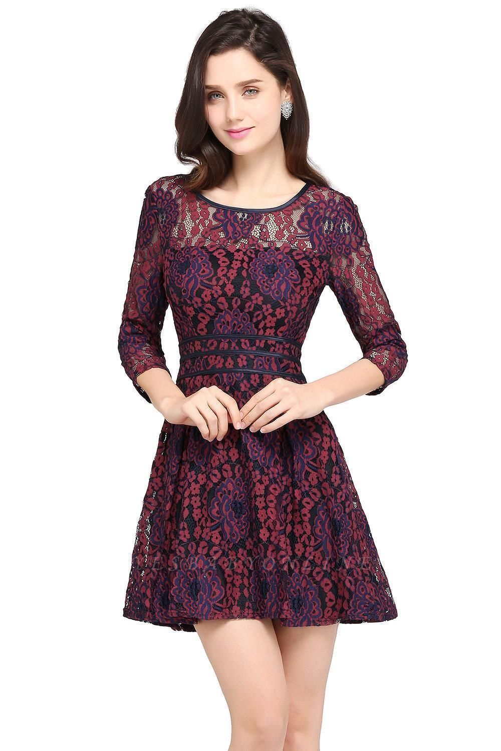 Cheap Lace Sleeves Jewel Short Cheap Evening Dress in Stock