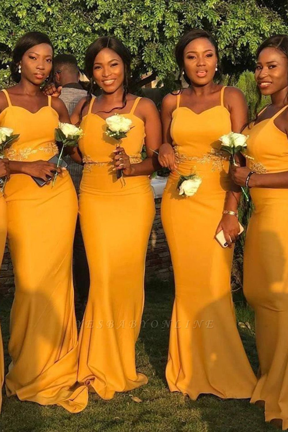 Spaghetti Straps Long Sexy Fitted Bridesmaid Dresses   Elegant Wedding Guest Dresses